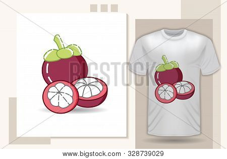 Mangosteen. Design With Modern Flat Style For Kids Clothes Design, Trendy And Modern Icon Mangosteen