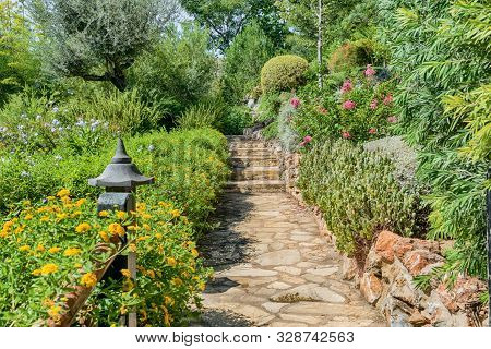 Japanese Garden With Beautiful And Colorful Vegetation.