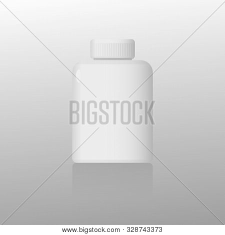 Blank Medicine Bottle Isolated On Gray Background. Vector