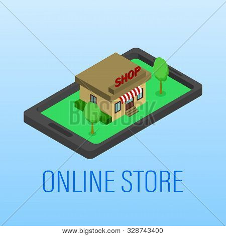 Vector Illustration. Mobile Phone With Shopping Basket With Bags And Boxes. Banking Credit Card. Con