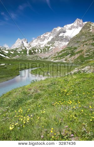 Mountain scenic: Lac Combal Val Veny Courmayeur Italy poster