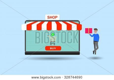 Flat Design Modern Vector Illustration Concept Of Online Shopping Web Store