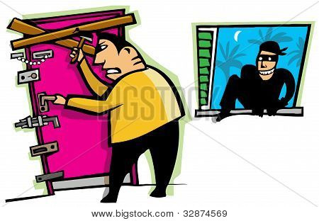 Cartoon scene of thief break into house