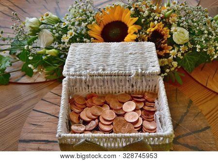 Wedding Gift, Payment Czech Metal Coin In Hand-made Box, Czech Republic