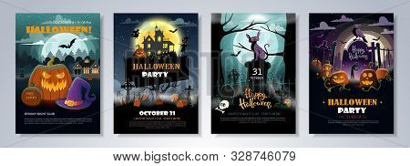 Set Of Halloween Party Flyer Templates With Scary Night Landscapes, Pumpkins, Graves And Other Hallo