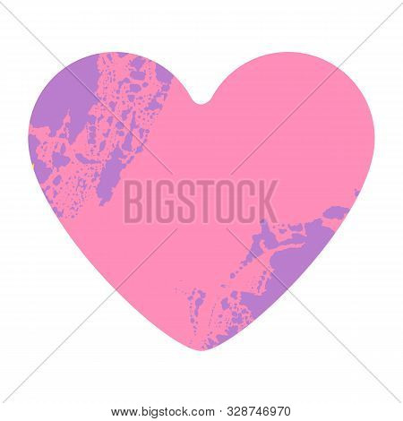 Grunge Heart On White Background. Pink Distressed Textured Hand Made Heart Made Of Paint Spray With