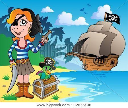Pirate girl on coast 1 - vector illustration.