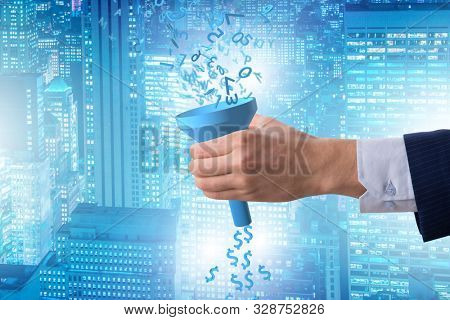 Data monetization concept with funnel and businessman poster
