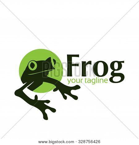 Frog Logo In The Circle. Flat Design. Frog Silhouette. Vector Illustration On White Background