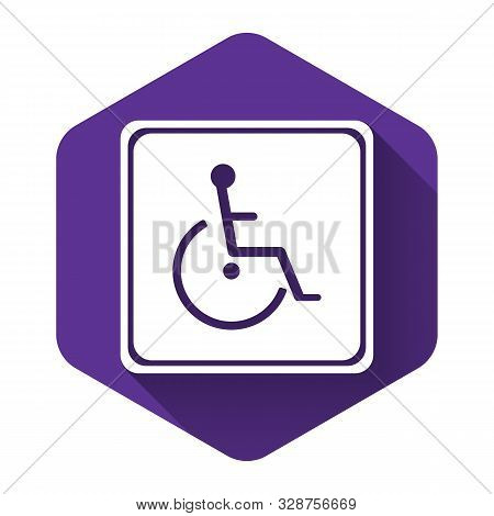 White Disabled Handicap Icon Isolated With Long Shadow. Wheelchair Handicap Sign. Purple Hexagon But