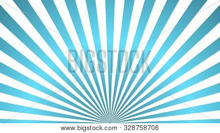 Sun Rays Background. Blue Radiate Sun Beam Burst Effect. Sunbeam Light Flash Boom. Template Starburs