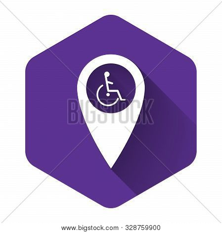 White Disabled Handicap In Map Pointer Icon Isolated With Long Shadow. Invalid Symbol. Wheelchair Ha
