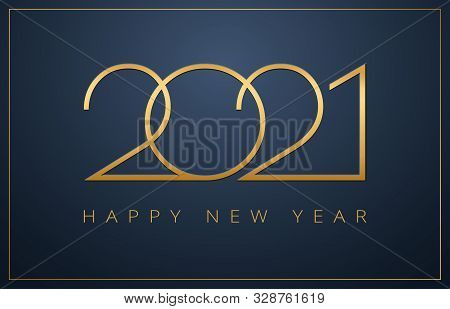 Classy 2021 Happy New Year Background. Golden Design For Christmas And New Year 2021 Greeting Cards.