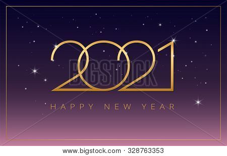 2021 Happy New Year Vector Background Party Celebration Invitation Illustration In Purple, Pink And