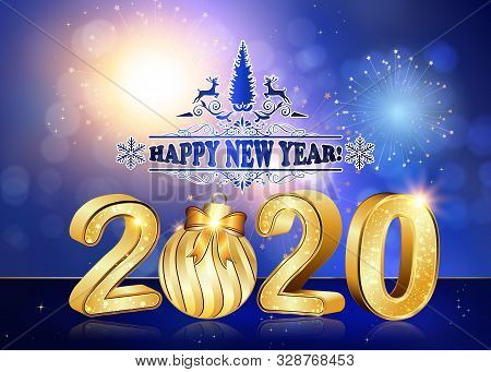 Happy New Year 2020! Greeting Card For Print, With Classic Design - Shiny Stars And Fireworks On A B
