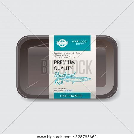 Packaging For Seafood. Label For Boxing Natural Products. Mackerel Fish.