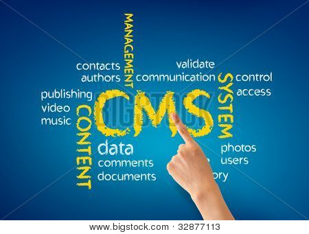 Hand pointing at a Content Management System Illustration on blue background. poster