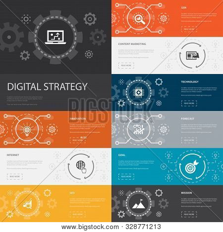 Digital Strategy Infographic 10 Line Icons Banners. Internet, Seo, Content Marketing, Mission Simple