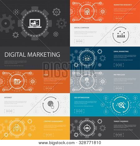 Digital Marketing Infographic 10 Line Icons Banners. Internet, Marketing Research, Social Campaign,