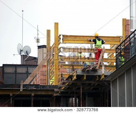 Pomorie, Bulgaria - October 16, 2019: New Construction Site. Workers Build A Home.