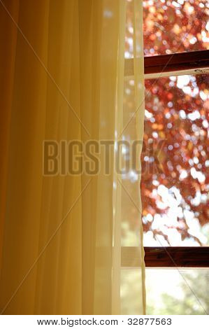 poster of Yellow curtains and stained glass window view to abstract nature scene.