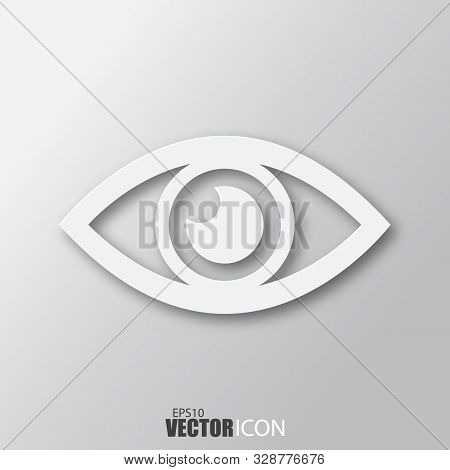 Eye Icon In White Style With Shadow Isolated On Grey Background.