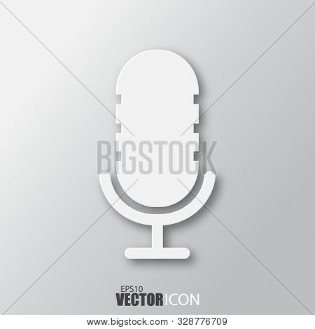 Microphone Icon In White Style With Shadow Isolated On Grey Background.