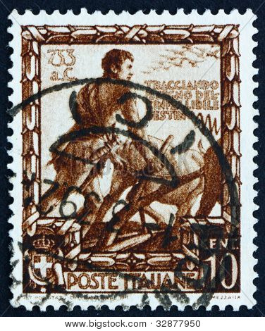 Postage stamp Italy 1938 Romulus Plowing a Furrow