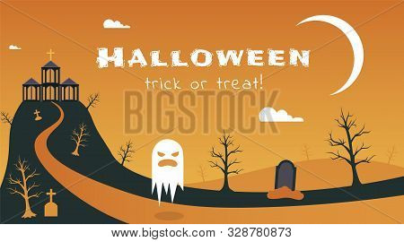 Halloween Holiday Flat Banner Vector Template. Seasonal Holiday Postcard, Traditional Greeting Card