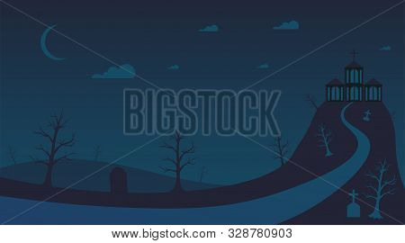 Haunted Old Mansion Flat Vector Illustration. Scary Ancient Hill House, Dark Halloween Night, Empty