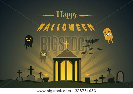 Happy Halloween Flat Banner Vector Template. Autumn Season Traditional Holiday Greeting Card Design