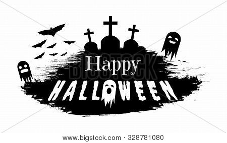 Haunted Cemetery Silhouette Vector Illustration. Seasonal Holiday Greeting Card Design Element, Grun
