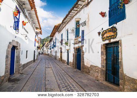 Cusco, Peru - Jan 7, 2019: Historic Colonial Buildings in ancient streets of Cusco, , Peru