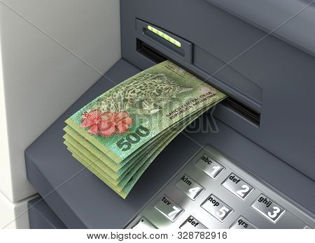 Withdrawal Argentinian Pesos From The Atm 3d Rendering