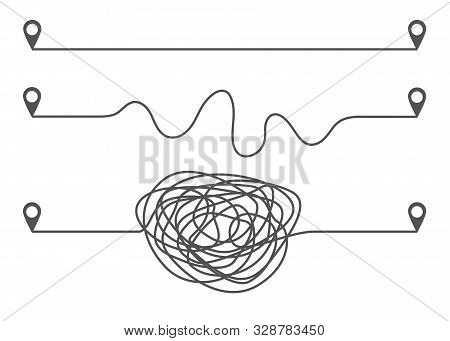 Three Ways Of Development Concept With Straight Complicated And Intricate Paths. Isolated Vector Ill