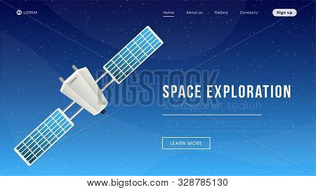 Space Exploration Landing Page Vector Template. Modern Science, Cosmology Website Homepage Interface