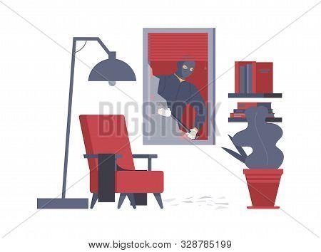 Apartment Robbery, Housebreak Flat Vector Illustration. Dangerous Burglar With Crowbar, Thief In Ski