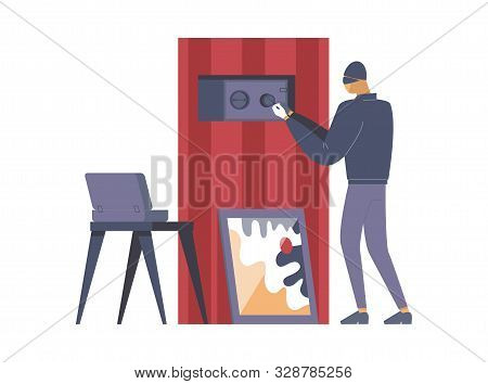 Criminal Opening Safe Flat Vector Illustration. Thief, Outlaw In Mask Cartoon Character. Disguised B