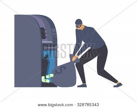 Atm Robbery, Larceny Flat Vector Illustration. Dangerous Burglar With Money Bag, Criminal In Disguis
