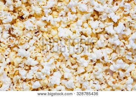 Fresh Tasty Salty Popcorn As A Food Background Or Texture.