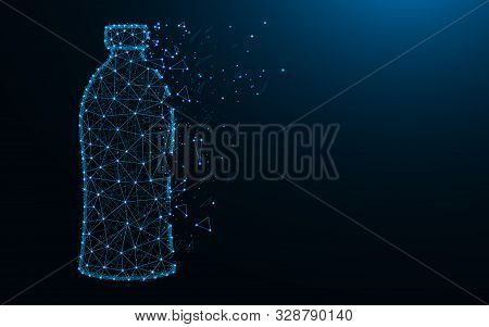 Bottle Low Poly Design, Drink Abstract Geometric Image, Plastic Wireframe Mesh Polygonal Vector Illu