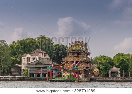 Bangkok City, Thailand - March 17, 2019: Chao Phraya River. Colorful, Chinese Style, Highy Decorated