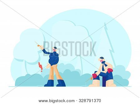 Fishermen With Rods Fishing On Coast Having Good Catch. Men Catching Fish On Frozen Lake Or Sea At W
