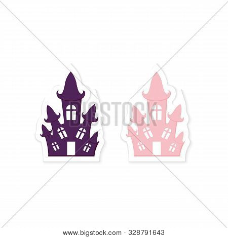 Cute Halloween Haunted House Sticker. Printable Flat Style Icon. Traditional Abandoned Witch Home, H
