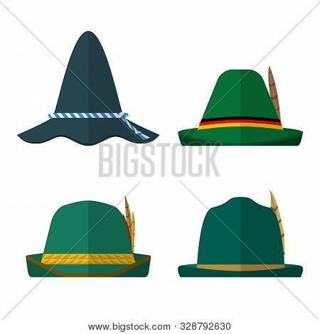 Set Of Flat Design Traditional Green Hats On White Background.