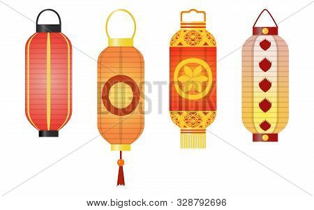 Set Of Traditional Asian Decorative Paper Lanterns Of Cylinder Shape.
