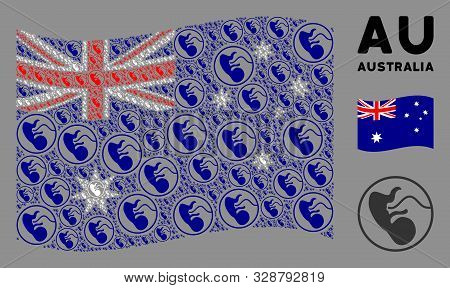 Waving Australia State Flag. Vector Prenatal Design Elements Are Formed Into Geometric Australia Fla