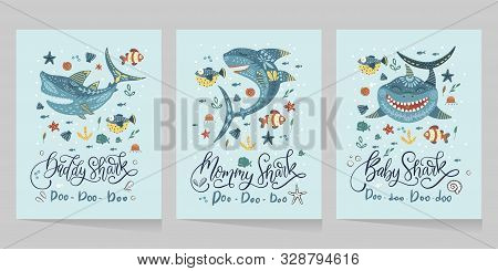 Cartoon Vector Shark Illustration - Sea Fish Card Set - Ocean Animal Shark Family Collection With Le