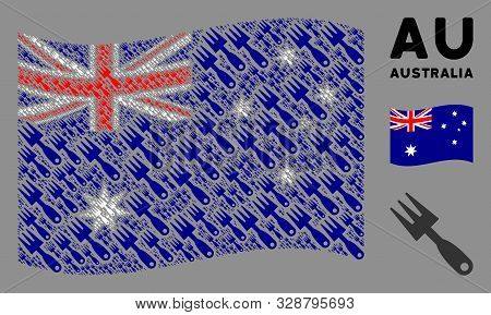 Waving Australia Official Flag. Vector Cultivator Rake Design Elements Are Arranged Into Conceptual
