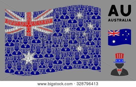 Waving Australia State Flag. Vector American Uncle Sam Design Elements Are Formed Into Mosaic Austra